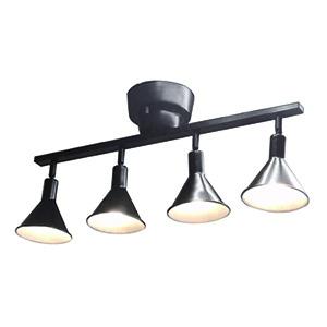 ドウシシャ LEDシーリングスポットライト ~6畳用 LED電球×4灯 調光タイプ 電球色 口金E17 リモコン付 ブラック TN-CLAL-BK