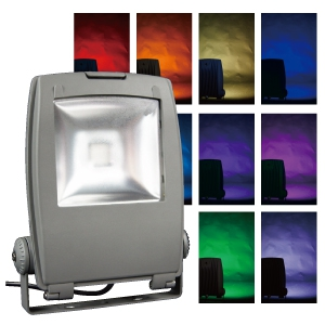ジェフコム LEDフルカラー投光器 40W 単色16種・フルカラー自動変色 リモコン付 PDS-C01-40FL