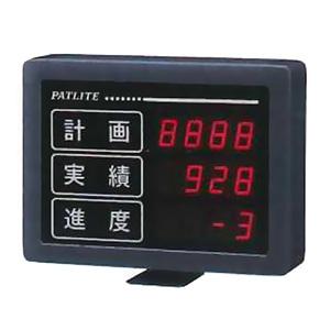 パトライト インテリジェント生産管理表示板 屋内専用 シリアル通信タイプ 文字高25mm 3段4桁 1色(赤) ACアダプタ付属 VE25-304S
