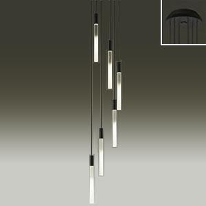 DAIKO LEDシャンデリア 吹抜け・傾斜天井用 白熱灯60W×6灯タイプ 電球色 非調光タイプ 吊高さ調節可能 φ3.8細コード使用 ブラック DCH-39494Y