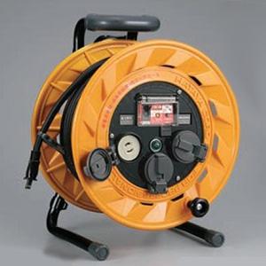 ハタヤ BR型コードリール 100Vタイプ 漏電遮断器付 2P 15A 125V 抜止め型 コンセント3個 長さ20m VCT2.0㎟×2C 温度センサー内蔵 BR-201
