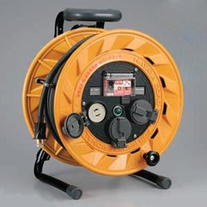 ハタヤ BR型コードリール 100Vタイプ 漏電遮断器付 2P 15A 125V 抜止め型 コンセント3個 長さ30m VCT2.0㎟×2C 温度センサー内蔵 BR-301