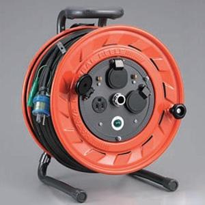 ハタヤ AP型コードリール 100Vタイプ 標準型 2P 15A 125V 接地付 コンセント3個 長さ50m VCT2.0㎟×3C 温度センサー内蔵 AP-501K