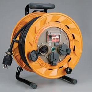 ハタヤ BR型コードリール 100Vタイプ 漏電遮断器付 2P 15A 125V 接地付 引掛け型 コンセント3個 長さ30m VCT2.0㎟×3C 温度センサー内蔵 BR-301KL