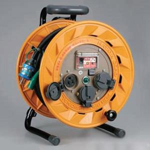 ハタヤ BR型コードリール 100Vタイプ 漏電遮断器付 2P 15A 125V 接地付 コンセント3個 長さ30m VCT2.0㎟×3C 温度センサー内蔵 BR-301KX