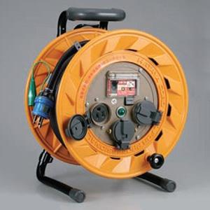 ハタヤ BR型コードリール 100Vタイプ 漏電遮断器付 2P 15A 125V 接地付 コンセント3個 長さ20m VCT2.0㎟×3C 温度センサー内蔵 BR-201KX