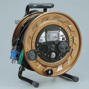 ハタヤ メタルセンサーリール 100Vタイプ 標準型 2P 15A 125V 接地付 コンセント2個 長さ30m VCT2.0㎟×3C 金属感知機能付 温度センサー内蔵 MSB-301KX
