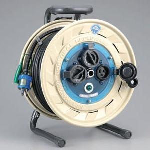 ハタヤ 屋外用リール 100Vタイプ 標準型 2P 15A 125V 接地付 コンセント3個 長さ30m VCT2.0㎟×3C 温度センサー内蔵 AF-301K
