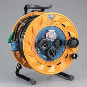 ハタヤ 屋外用リール 100Vタイプ 漏電遮断器付 2P 15A 125V 接地付 コンセント3個 長さ30m VCT2.0㎟×3C 温度センサー内蔵 BF-301K