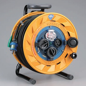ハタヤ 屋外用リール 100Vタイプ 漏電遮断器付 2P 15A 125V 接地付 コンセント3個 長さ50m VCT2.0㎟×3C 温度センサー内蔵 BF-501K