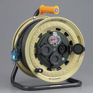 ハタヤ サンタイガーレインボーリール 屋外用 100Vタイプ 漏電遮断器付 2P 15A 125V 接地付 コンセント3個 長さ30m VCT2.0㎟×3C 温度センサー内蔵 BX-301K