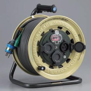 ハタヤ サンタイガーレインボーリール 屋外用 100Vタイプ 漏電遮断器付 2P 15A 125V 接地付 コンセント3個 長さ50m VCT2.0㎟×3C 温度センサー内蔵 BX-501K