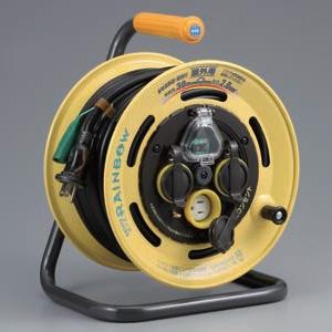 ハタヤ レインボーリール 屋外用 100Vタイプ 漏電遮断器付 2P 15A 125V 接地付 コンセント3個 長さ30m VCT2.0㎟×3C BE-30K