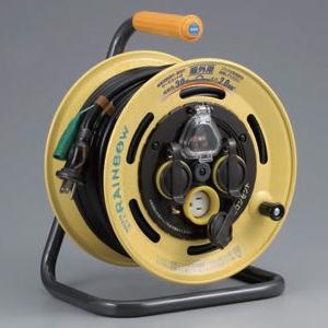 ハタヤ レインボーリール 屋外用 100Vタイプ 漏電遮断器付 2P 15A 125V 接地付 コンセント3個 長さ30m VCT2.0㎟×3C 温度センサー内蔵 SBE-30KC