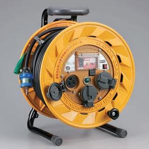 ハタヤ BR型コードリール 温度センサー&アースチェックタイプ 100Vタイプ 漏電遮断器付 2P 15A 125V 接地付 コンセント3個 長さ30m VCT2.0㎟×3C TBR-301KG