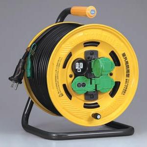 ハタヤ シンタイガーレインボーリール 屋外用 100Vタイプ 漏電遮断器付 2P 15A 125V 接地付 コンセント4個 長さ50m VCT2.0㎟×3C 温度センサー内蔵 BA-50K