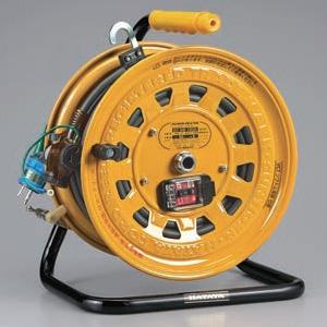 ハタヤ サンタイガーテモートリール 100Vタイプ 漏電遮断器付 2P 15A 125V 接地付 二次側コンセント3個 長さ30+3m VCT2.0㎟×3C 温度センサー内蔵 GB-130K