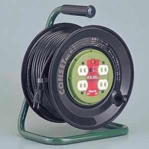 ハタヤ コンセットリール コンセント盤固定型 100Vタイプ 標準型 2P 15A 125V コンセント4個 長さ30m VCT2.0㎟×2C 温度センサー内蔵 KS-30