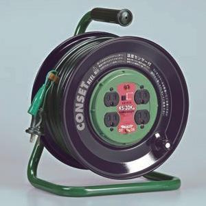 ハタヤ コンセットリール コンセント盤固定型 100Vタイプ 標準型 2P 15A 125V 接地付 コンセント4個 長さ30m VCT2.0㎟×3C 温度センサー内蔵 KS-30K