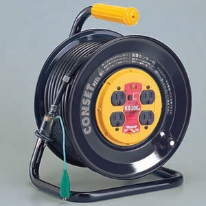 ハタヤ コンセットリール コンセント盤固定型 100Vタイプ 漏電遮断器付 2P 15A 125V 接地付 コンセント4個 長さ30m VCT2.0㎟×3C 温度センサー内蔵 KB-30K