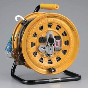 ハタヤ マルチテモートリール 屋内用 100Vタイプ 漏電遮断器付 2P 15A 125V 接地付 コンセント本体2個・二次側3個 長さ27+6m VCT2.0㎟×3C 温度センサー内蔵 GBM-130K
