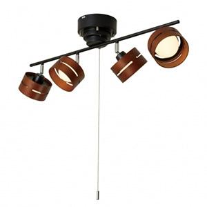電材堂 【ケース販売特価 4台セット】 LEDスポットシーリングライト 4灯タイプ 引きひも式 電球色 ブラック SC01BKDNZ_set