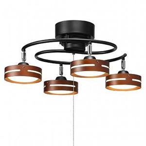 電材堂 LEDスポットシーリングライト S字4灯タイプ 引きひも式 電球色 ブラック SC03BKDNZ