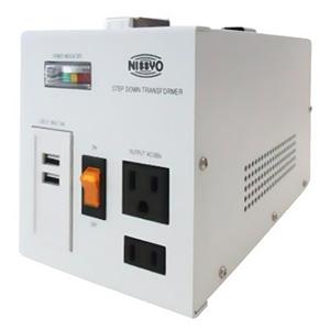 日章工業 降圧変圧器 《ダウントランス SPXシリーズ》 AC220~240V 出力容量1600W USBポート2個付 SPX-1600