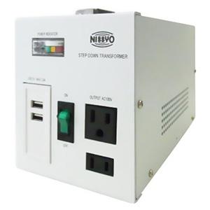 日章工業 降圧変圧器 《ダウントランス SPXシリーズ》 AC110~127V 出力容量1600W USBポート2個付 SPX-1600U