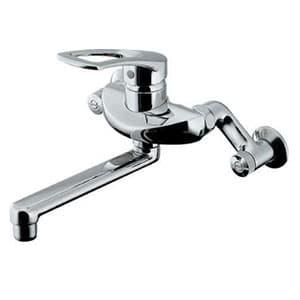 カクダイ シングルレバー混合栓 節湯型 壁付タイプ 水抜可能共用 逆流防止機能付 192-332-220