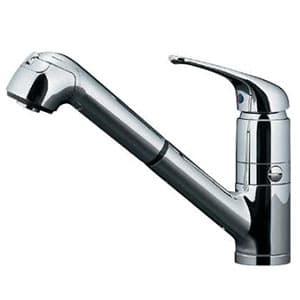 カクダイ シングルレバー引出し混合栓 節湯型 ブレードホースタイプ 取付穴径36~40mm 吐水口高さ161mm 逆流防止機能・分水孔付 118-038