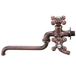 カクダイ 双口自在水栓 単水栓タイプ 節水固定コマ式 呼び径13 一般地・寒冷地共用 ブロンズ 7042FBP-13