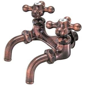 カクダイ 双口ホーム水栓 ガーデン用 単水栓タイプ 節水固定コマ式 呼び径13 一般地・寒冷地共用 ブロンズ 7050FBP-13