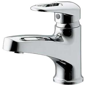 カクダイ シングルレバー混合栓 洗面用 ブレードホースタイプ 節湯型 取付穴径35~38mm 吐水口高さ75mm 逆流防止機能付 185-111