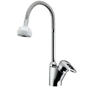 カクダイ シングルレバー混合栓 洗面用 ブレードホースタイプ 一般地・寒冷地共用 取付穴径35~38mm シャワー・ゴム栓くさり付 183-135