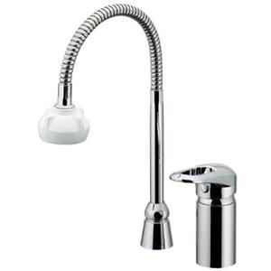 カクダイ シングルレバー混合栓 2ホールタイプ 節湯型 取付穴径25~28mm 逆流防止機能・シャワー付 185-514