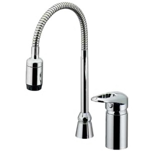 カクダイ シングルレバー混合栓 2ホールタイプ 節湯型 取付穴径25~28mm 逆流防止機能・シャワー付 185-516