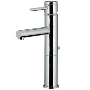 カクダイ シングルレバー混合栓 《SYATORA》 洗面用 ミドル型 メッキ銅管タイプ 節湯型 一般・寒冷共用 取付穴33~36mm 吐水口高さ175mm 引棒付 183-142