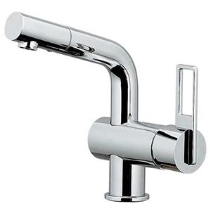 カクダイ シングルレバー混合栓 《CORDIA》 洗面用 ブレードホースタイプ 一般地・寒冷地共用 取付穴径35~38mm 吐水口高さ170mm 183-037