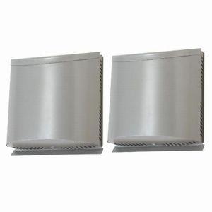 三菱 壁掛2パイプ・ダクト用ロスナイ専用フード 角形 防音用タイプ 給・排用2台1組 防虫網・水切板付 ステンレス製 P-100VSSQ5