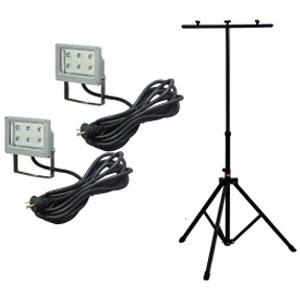 ジェフコム LED投光器 三脚セット LED6W×2タイプ PDS-0106SET