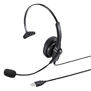 サンワサプライ ヘッドセット USB接続タイプ 片耳オーバーヘッドタイプ MM-HSU03BK
