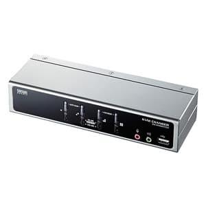 サンワサプライ パソコン自動切替器 切替えポート数4:1 USB・PS/2コンソール両対応 横置きハイエンド ディスプレイエミュレーション機能搭載 SW-KVM4HVCN