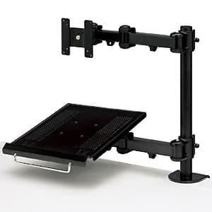 サンワサプライ デュアルシステムアーム 液晶ディスプレイアーム+ノートパソコン台 クランプ式 CR-LA602