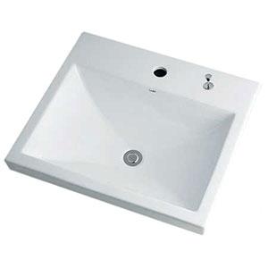 カクダイ 角型洗面器 《Luju》 1ホール・半埋めタイプ 容量6.5L 排水・専用4 排水上部セット・オーバーフロー機能付 493-003H