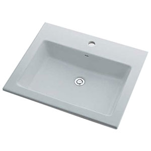 カクダイ 角型洗面器 《Luju》 1ホール・オーバーカウンタータイプ 容量10L 排水・国内3 オーバーフロー機能付 493-008