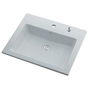 カクダイ 角型洗面器 《Luju》 1ホール・オーバーカウンタータイプ 容量10L 排水・専用4 排水上部セット・オーバーフロー機能付 493-008H