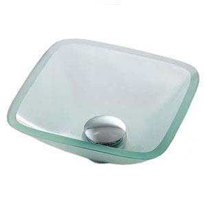 カクダイ ガラス角型手洗器 《硝》 置型タイプ 排水・専用1 専用排水上部セット・化粧キャップ付 493-029-C