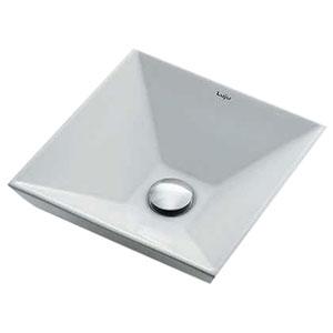 カクダイ 角型手洗器 《Luju》 半埋めタイプ 排水・国内7 493-085