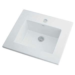 カクダイ 角型洗面器 《Luju》 オーバーカウンタータイプ 容量5L 排水・国内3 オーバーフロー機能付 493-093